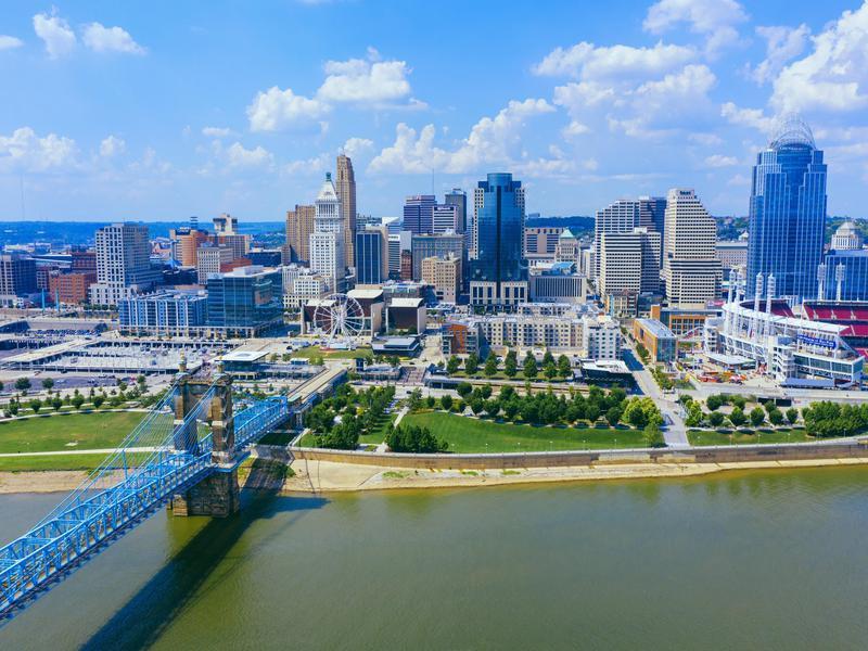 Cincinnati skyline aerial view with Ohio river