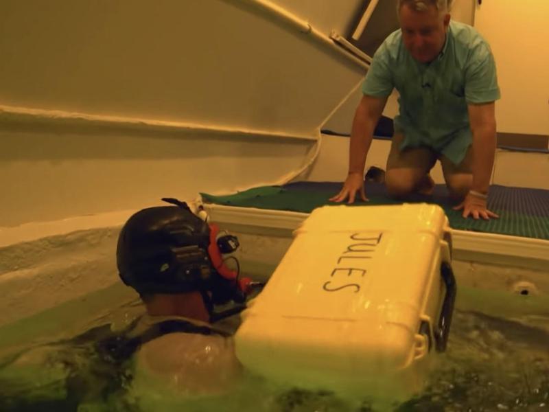Scuba diving pizza delivery man