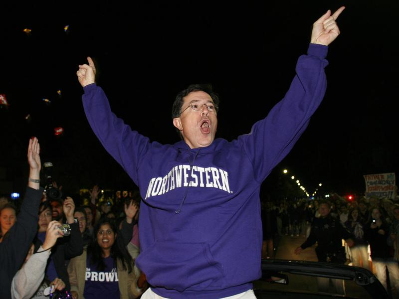 Stephen Colbert serves as grand marshal of the Northwestern University homecoming parade in Evanston, Illinois, in 2006.