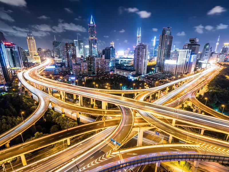 Shanghai, China, at night
