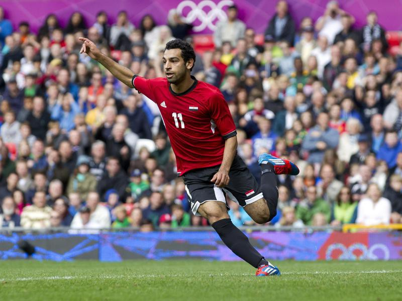 Egypt's Mohamed Salah celebrates goal