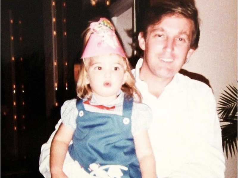 Ivanka as a young girl with her father, the future president.