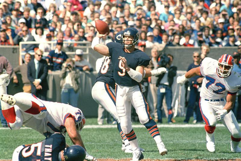 Jim McMahon of the Chicago Bears readies a pass against Buffalo Bills