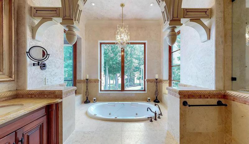 Master bathroom with sunken hot tub