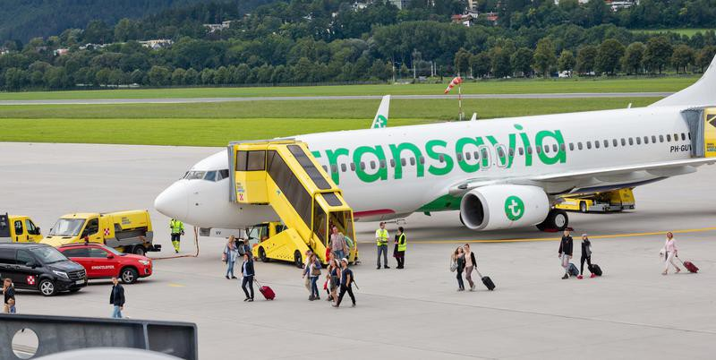 Passengers getting off Transavia plane