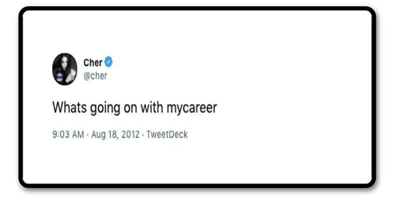Cher tweet asking for career advice