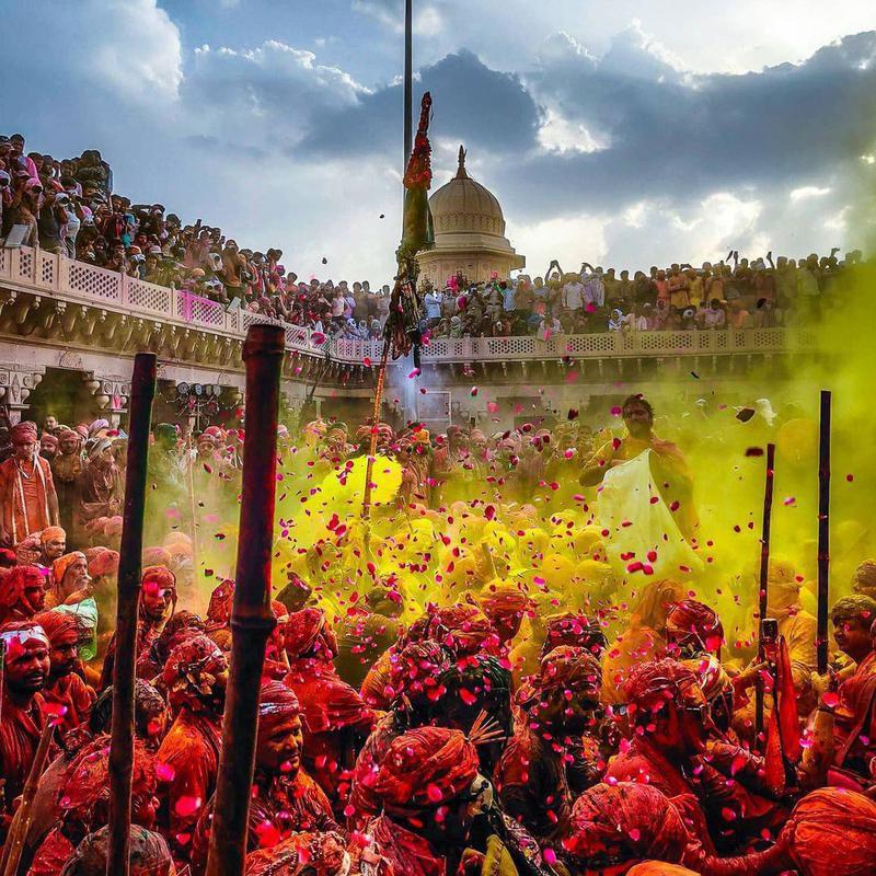 People celebrating Holi in Uttar Pradesh