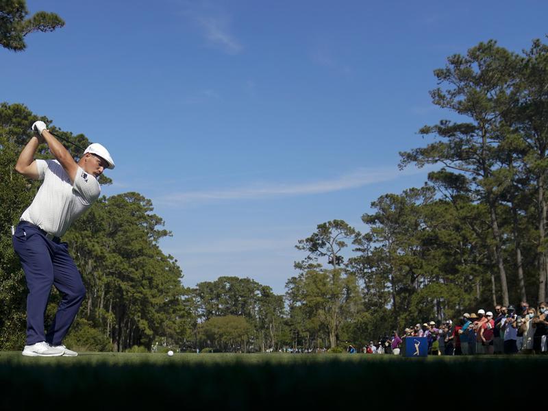 Bryson DeChambeau hits tee shot