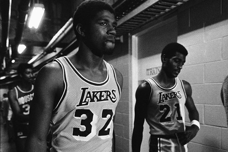 Magic Johnson and Michael Cooper