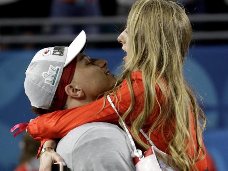 Patrick Mahomes and Brittany Matthews celebrate Super Bowl win
