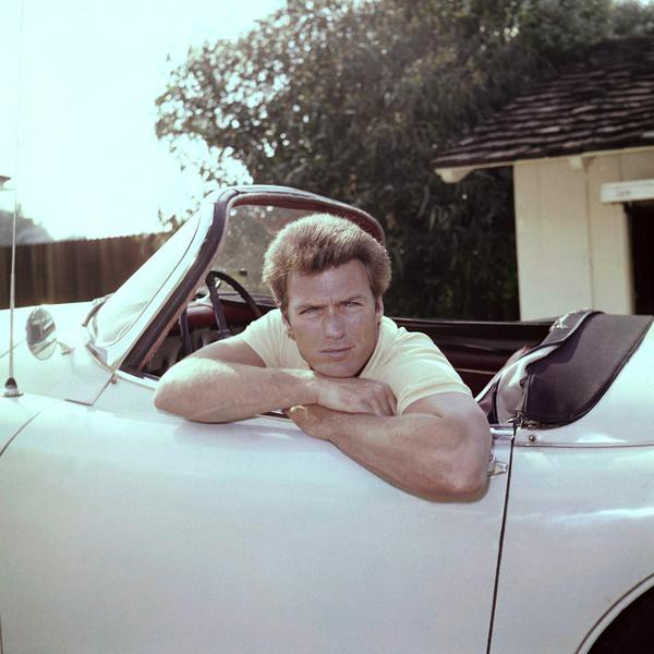 Clint Eastwood, color transparencies of him in a car with a camera in 1962. (AP Photo)