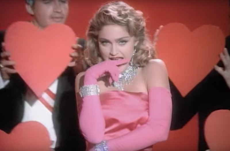 """The song's campy, """"Gentlemen Prefer Blondes""""-inspired MTV video was a sensation in 1985."""
