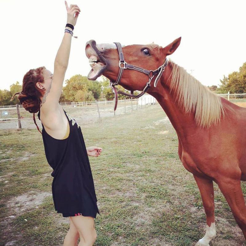 Girl Training Horse to Smile