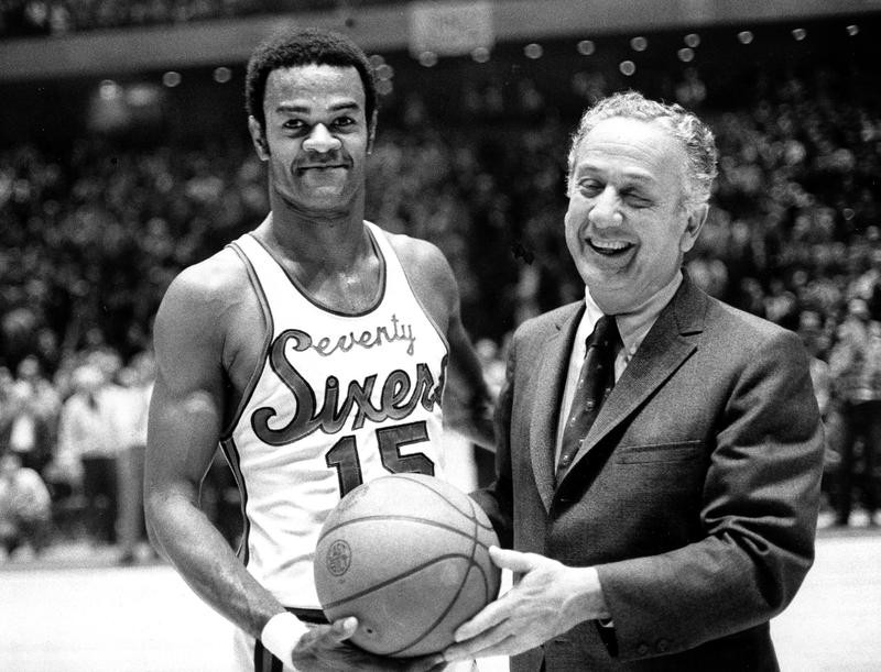 Hal Greer accepts ball from Sixers owner Irv Kosloff
