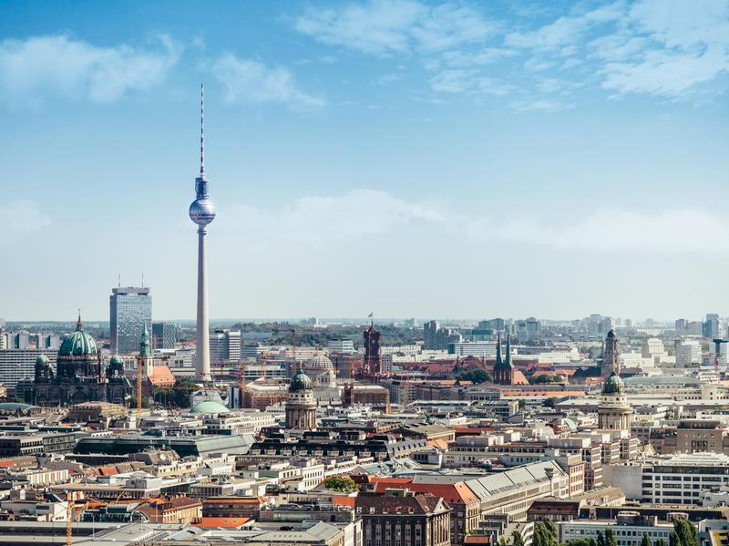 Berlin cityscape with television tower and cathedral