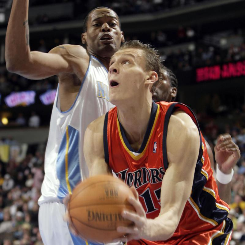 Andris Biedrins goes up for shot