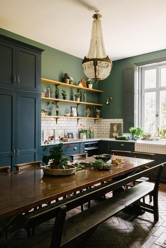 Victorian-style kitchen with copper table