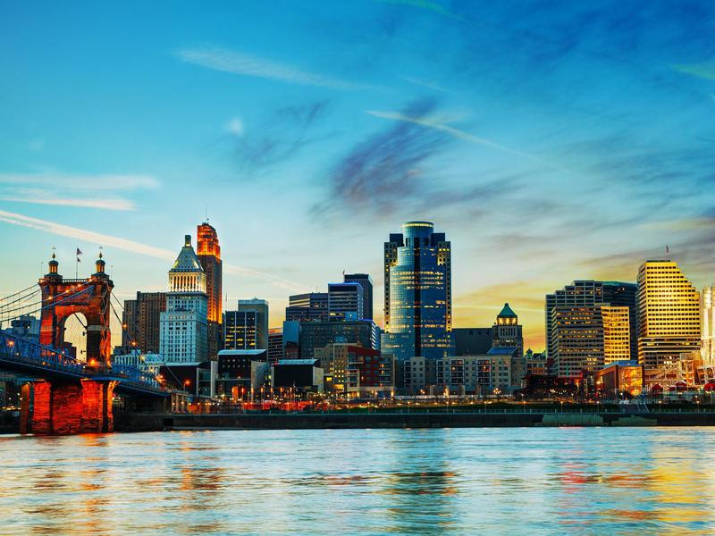 Cincinnati, Ohio features ample Art Deco, Tudor and Victorian architecture, and an extensive park system.