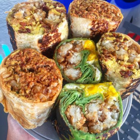 Breakfast burritos at Tacos Tu Madre