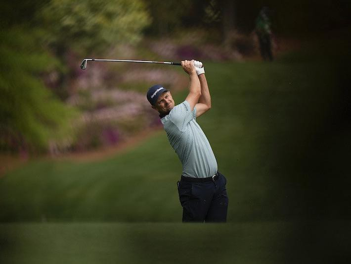 Justin Rose hits from fifth fairway