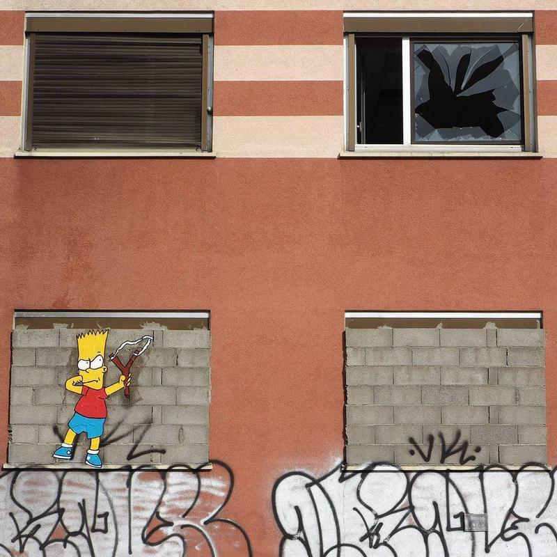 Bart Simpson street art in France