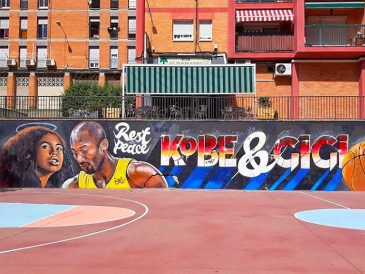 Kobe Bryant and Gianna Bryant mural in Spain
