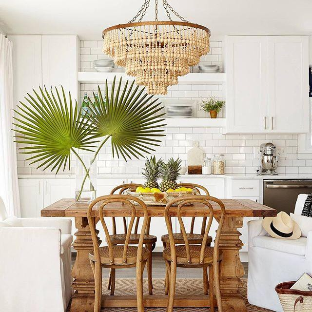 Kitchen with rattan chandelier