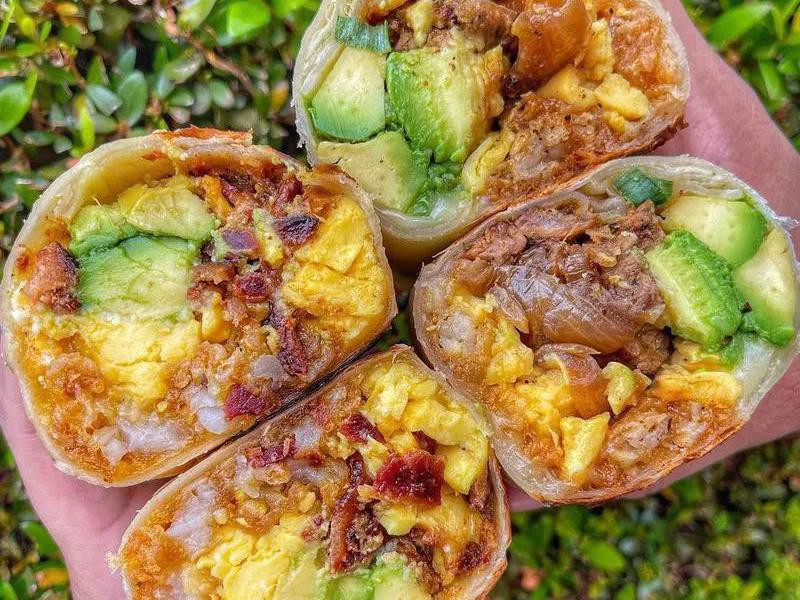 Bacon and steak breakfast burritos from Wake & Late