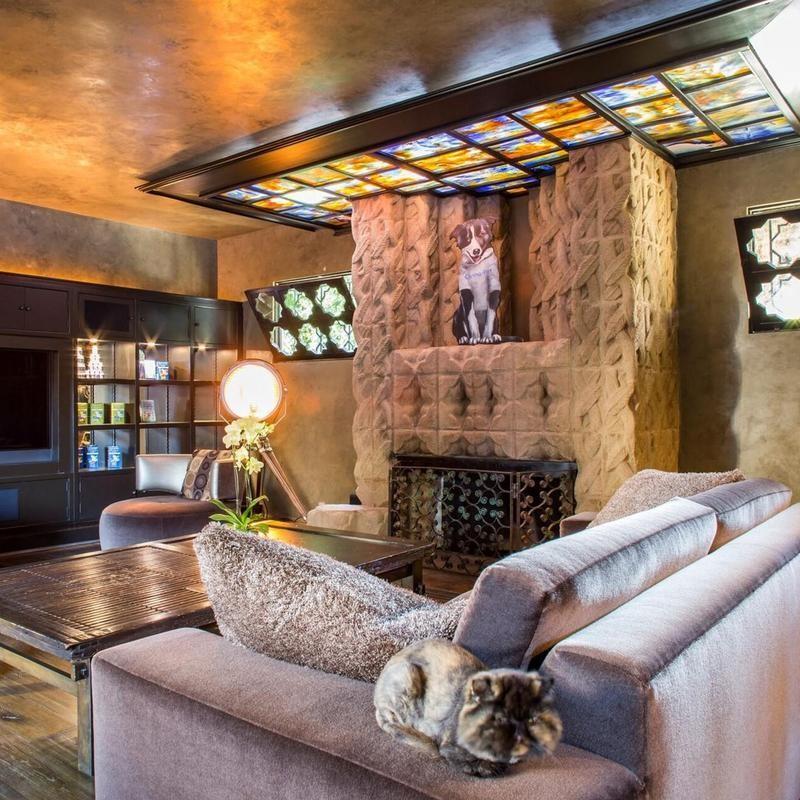 Mayan revival living room
