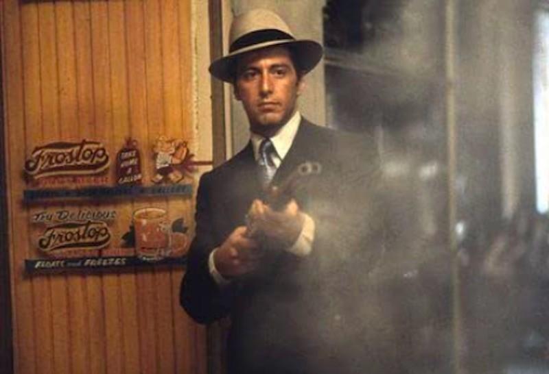 Al Pacino shooting gun in The Godfather