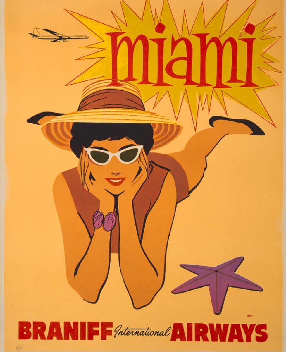 Miami poster from Braniff International Airways