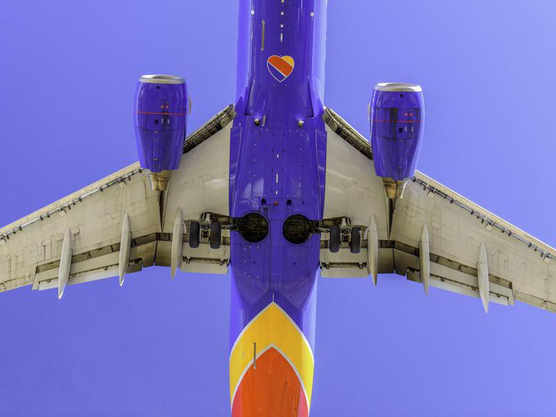 Underbelly of Southwest Airlines plane