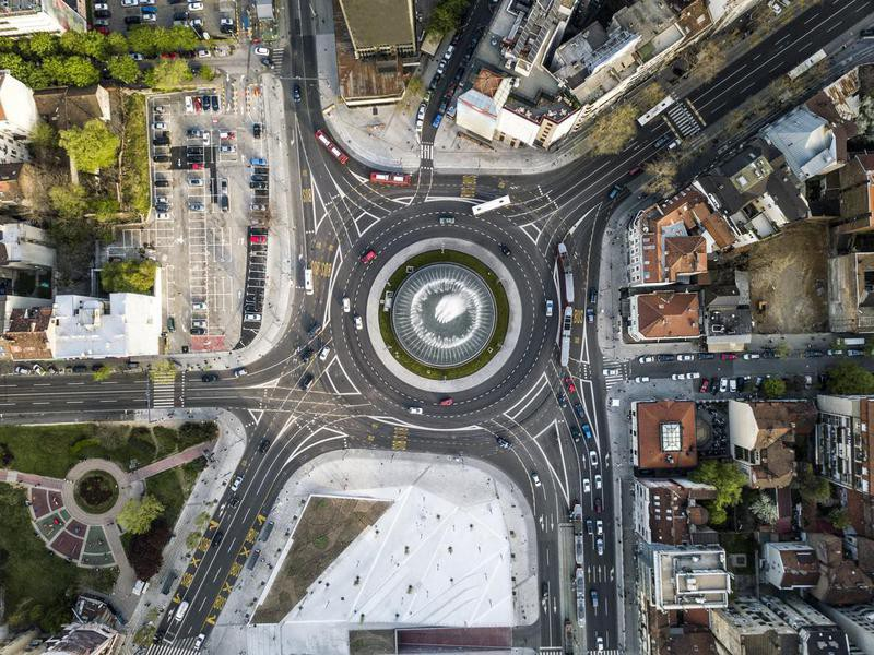 Slavija roundabout in Belgrade, Serbia
