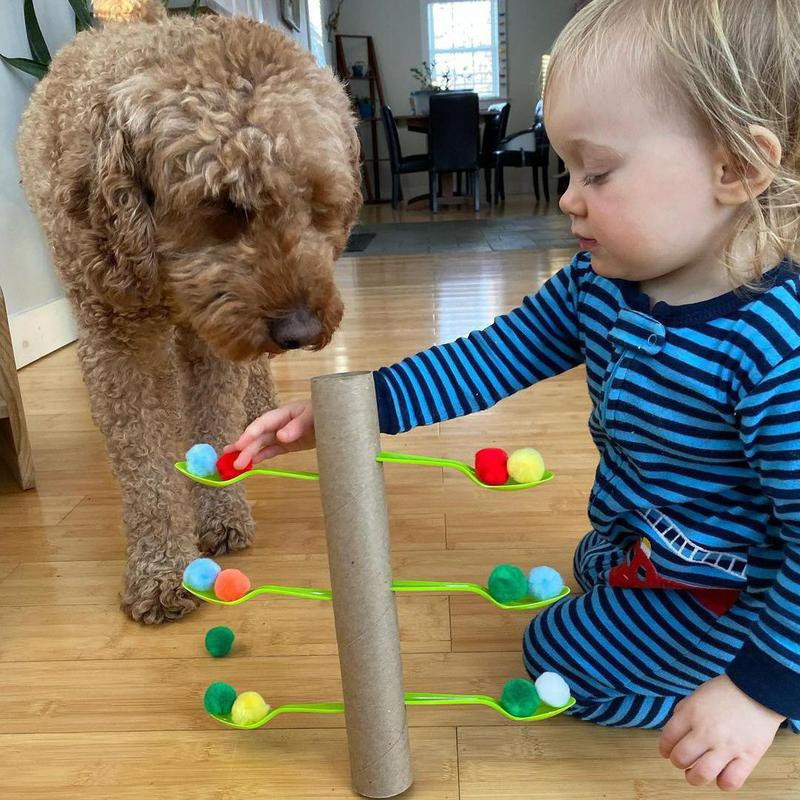 Toddler and dog playing with tube and spoons