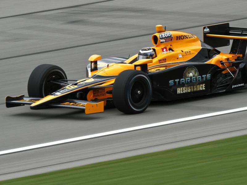 Simona De Silvestro drives during IndyCar Series' Road Runner Turbo