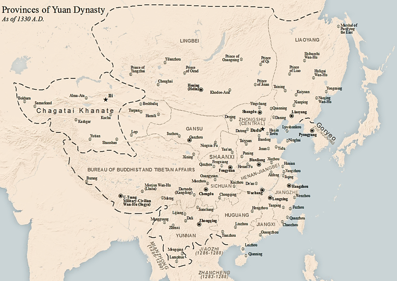 Map of the Yuan dynasty