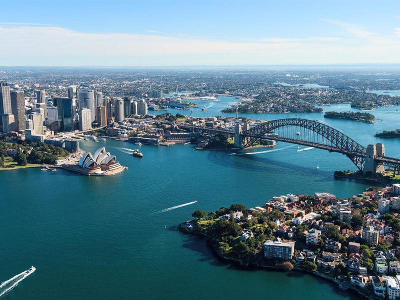 Aerial View of Sydney Harbour in Australia