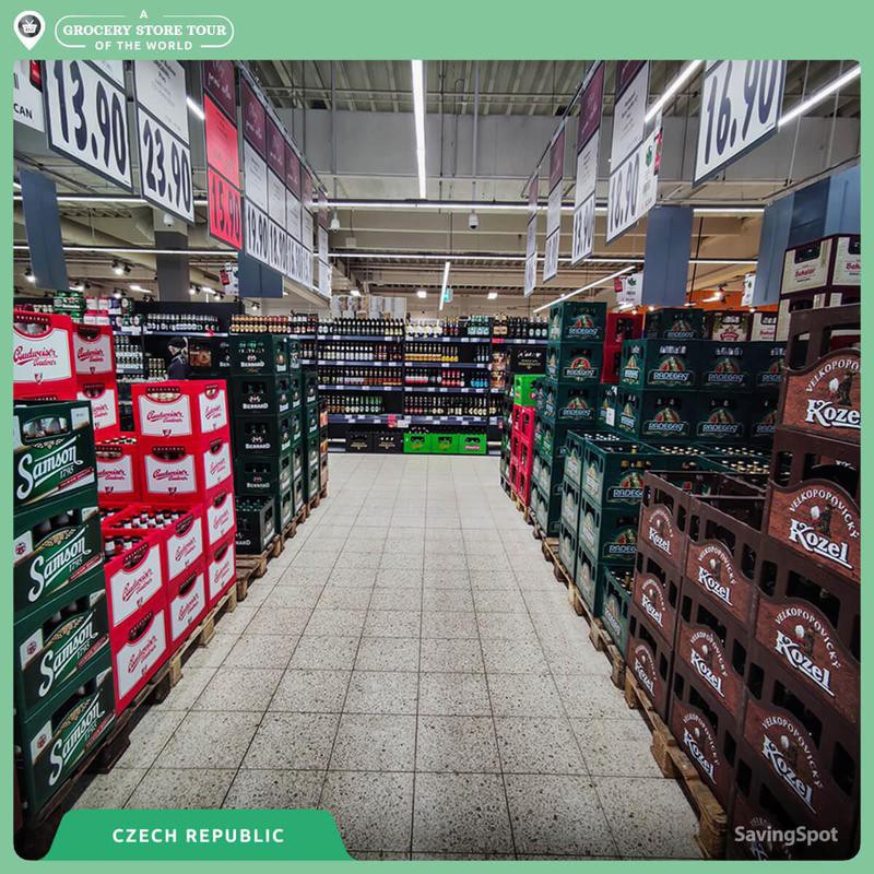 Beer isle in a Czech grocery store