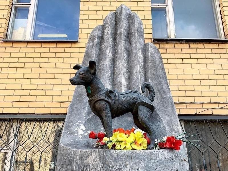 Laika the space dog memorial in Moscow, Russia