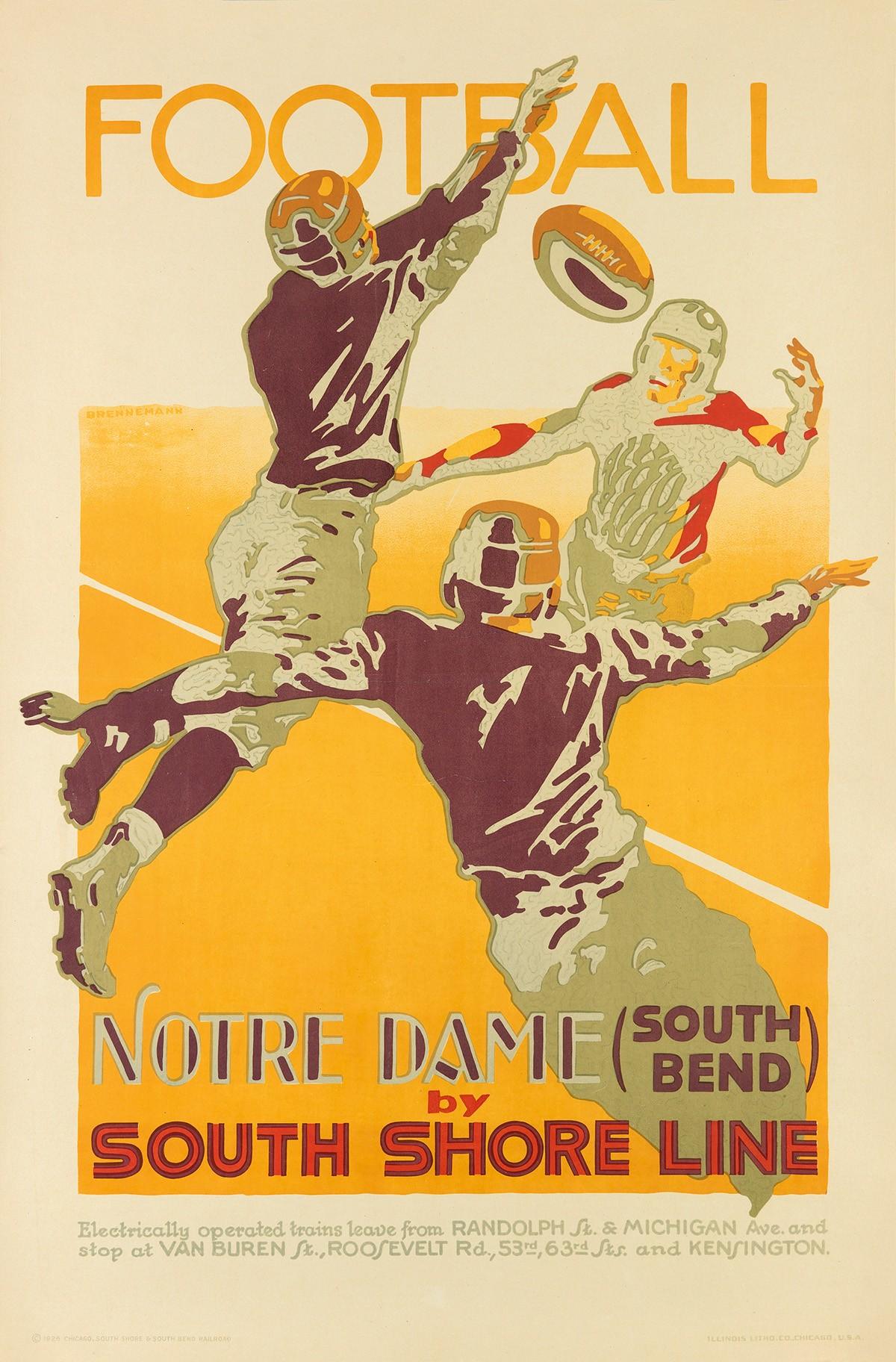 Vintage Notre Dame football poster