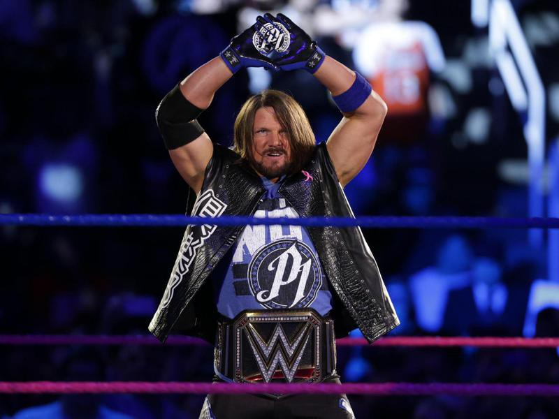 AJ Styles with the WWE Championship