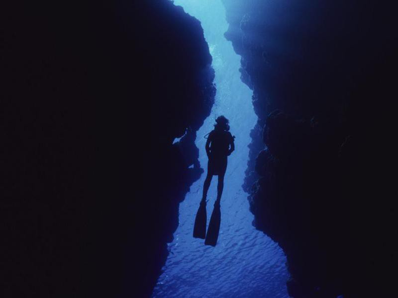 Diver in cave
