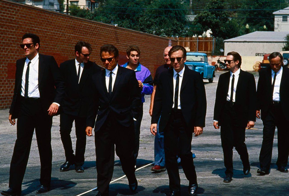 Steve Buscemi, Harvey Keitel, Quentin Tarantino, Michael Madsen, Tim Roth, Chris Penn, Edward Bunker, and Lawrence Tierney in Reservoir Dogs
