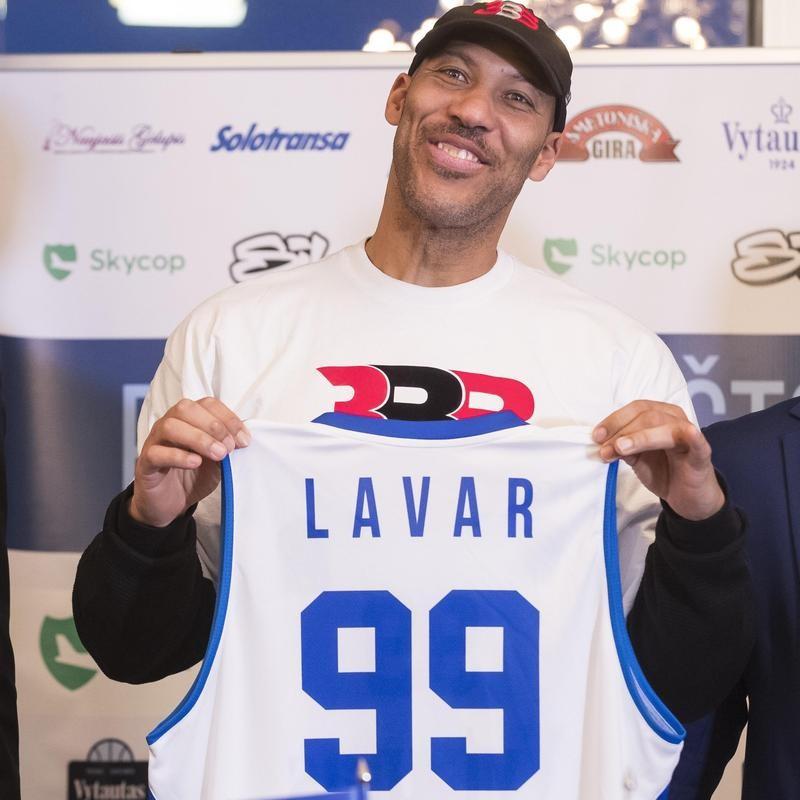 LaVar Ball poses with Lithuanian BC Prienai shirt