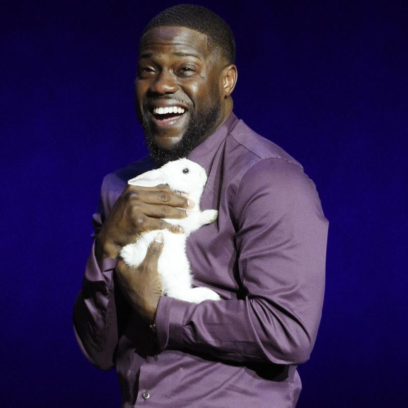 Kevin Hart holds a rabbit onstage