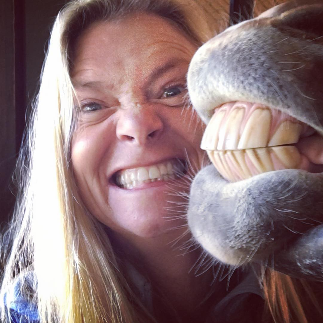 Woman Saying Cheese With Horse