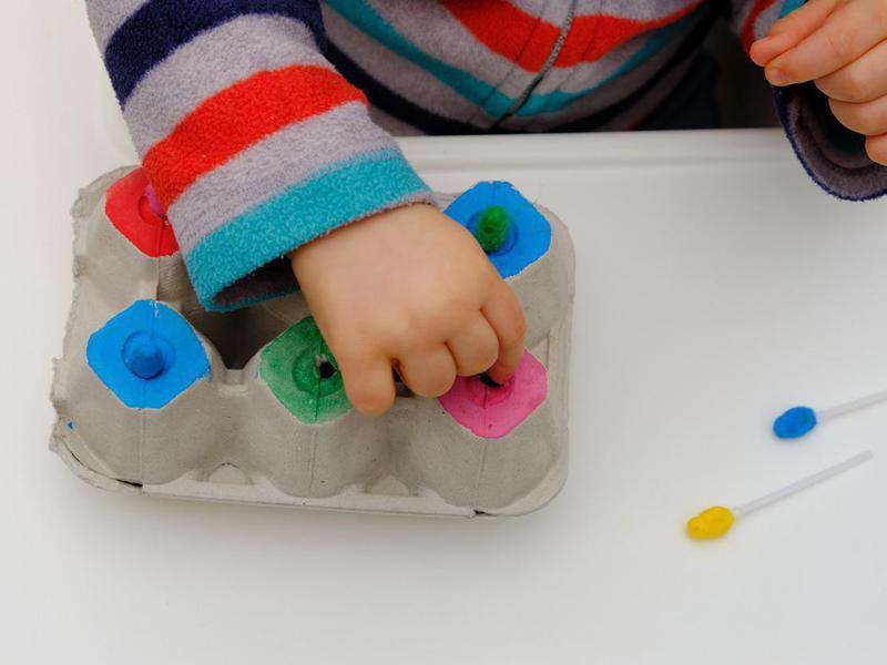 Homemade baby egg carton toy