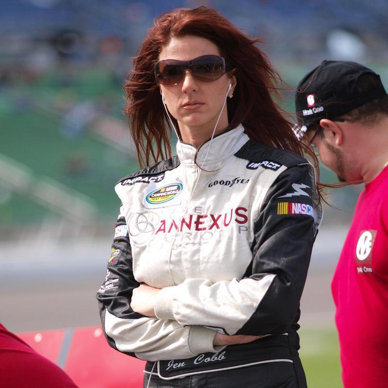 Jennifer Jo Cobb waits to qualify for O'Reilly Auto Parts 250 auto race