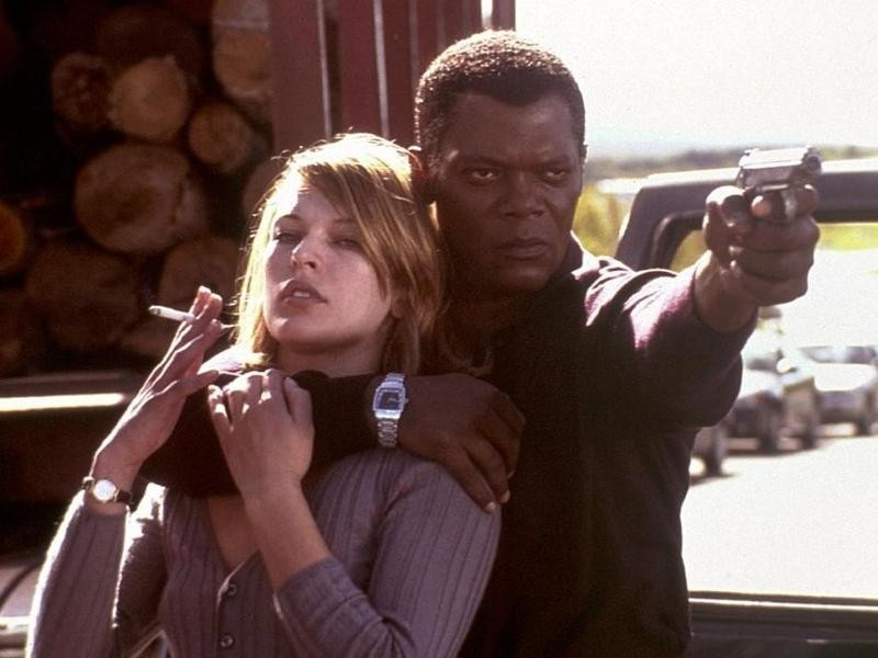 Mila Jovovich and Samuel L. Jackson