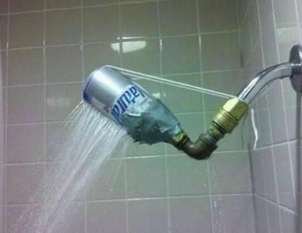 Beer can to repair showerhead
